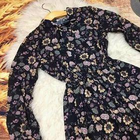Đầm xòe tay dài in hoa 3d côt giá sỉ