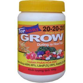 Phân bón lá Grow 20-20-20 TopAgri dưỡng cây và kích bông 100g chuyên gia hoa lan giá sỉ