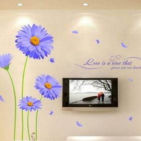 Decal dán tường hoa cúc tím giá sỉ