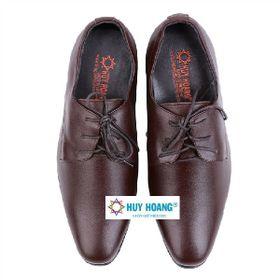 Giày nam tăng chiều cao Huy Hoàng cột dây màu nâu HR7716 giá sỉ