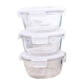 Bộ 3 hộp thủy tinh tròn LockLock 380ml và túi giữ nhiệt giá sỉ