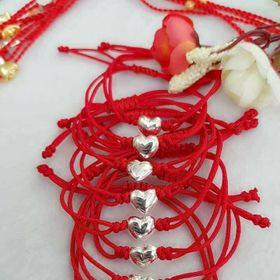 Vòng Tay Dây đỏ may mắn tết tim Bạc ý 925 - 003 giá sỉ
