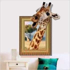 Trang trí nội thất 3D Chú hươu cao cổ đáng yêu giá sỉ