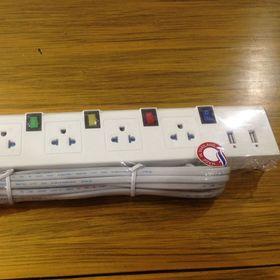Ổ cắm điện Thái Lan 4 ổ cắm đa năng 4 công tắc có nắp che bảo vệ 2 cổng USB dây dài 5m MU55
