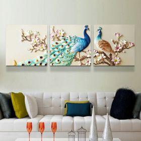Tranh phù điêu chim công hoa mẫu đơn MS1 giá sỉ