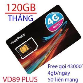 Siêu rẻ Sim 4G Vinaphone VD89 PLUS 120GB/THÁNG 4GB/NGÀY data tốc độ cao giá sỉ