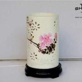 Đèn xông tinh dầu Gốm trắng Hoa lan Trụ giá sỉ