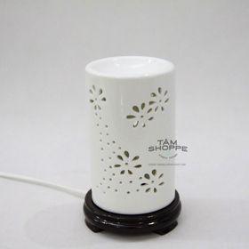 Đèn xông tinh dầu Gốm trắng Hoa mai trụ giá sỉ