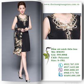 DM293 - Đầm polyester sát nách thêu hoa - Size S5XL giá sỉ