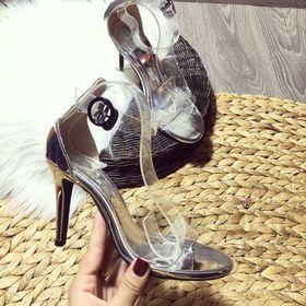 giày xanh đan cao gót da bóng giá sỉ