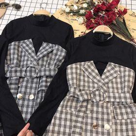 Đầm vest giả set Chất kaki bố dày đẹp phối thun dạ gân siêu chất giá sỉ