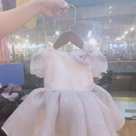 Đầm công chúa trắng xám baby giá sỉ
