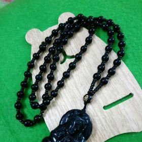 Dây chuyền mặt đá hình Phật màu đen giá sỉ