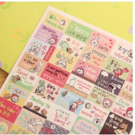 Sticker trang trí dán sổ lưu niệm lịch điện thoại hình thỏ dễ thương giá sỉ