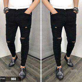 Quần jean nam màu đen rách gối giá sỉ