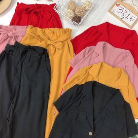 Siêu set bộ áo vest quần ống rộng nơ giá sỉ