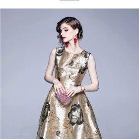 Đầm gấm hoa hàng cao cấp giá sỉ