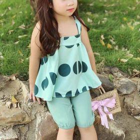 Đồ bộ bé gái xanh chấm bi 3 size - BB01XCB giá sỉ