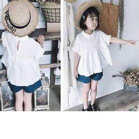 Bộ đồ bé gái áo sơ mi trắng và quần sooc xanh giá sỉ