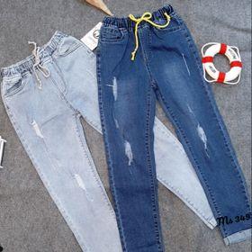 Quần jean nữ lưng thun co giãn 2 màu đậm và nhạt giá sỉ