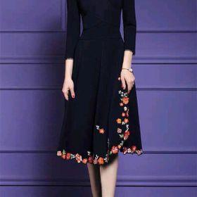 Đầm thun thêu chân váy hoa cao cấp giá sỉ