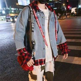 Áo Khoác Jeans Nam phối tay vải caro giá sỉ