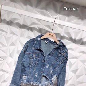 Áo Khoác Jeans Nữ Xanh Đậm Rách sau giá sỉ