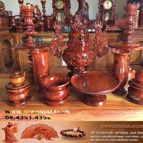 Bộ lư thờ gỗ hương gia lai của xưởng sản xuất