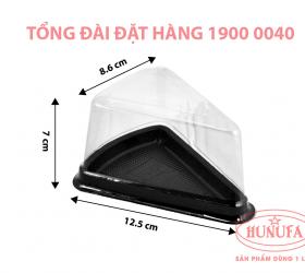 Hộp nhựa đựng bánh tam giác đế đen nắp PET A03 giá sỉ