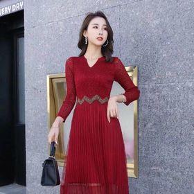 Đầm len chân váy cao cấp dập ly giá sỉ