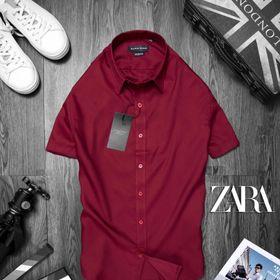 áo somi ngắn tay nam màu đỏ đô giá sỉ