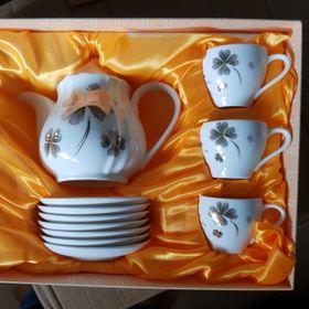 Bộ ấm trà gốm sứ cao cấp có đĩa giá sỉ