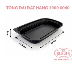 Khay nhựa đế đen đựng thực phẩm nắp PET HT017 - không ngăn giá sỉ