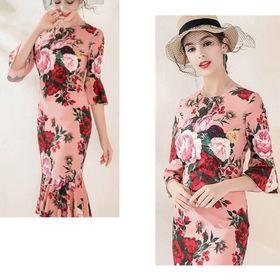 Đầm hoa cao cấp hồng phấn giá sỉ