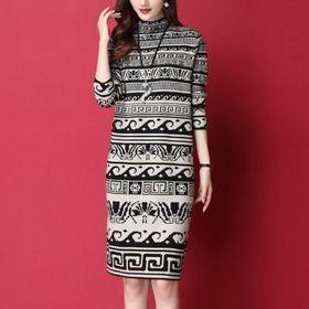 Đầm len hoạ tiết dập sóng giá sỉ