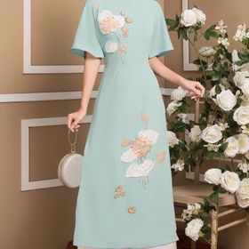 Áo dài cao cấp hoa sen 4 màu giá sỉ