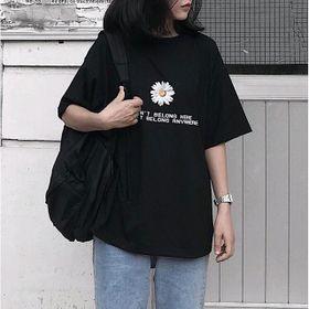 Áo phông hoa cúc màu đen giá sỉ