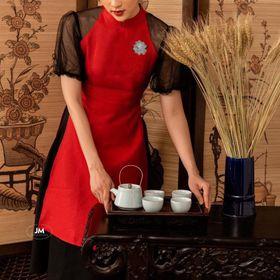 Set áo dài cách tân chất liệu Umi phối lưới váy lụa giá sỉ giá bán buôn