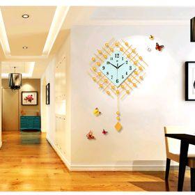 Đồng hồ treo tường trang trí hình quả lắc đính đá size 48x71 cm giá sỉ