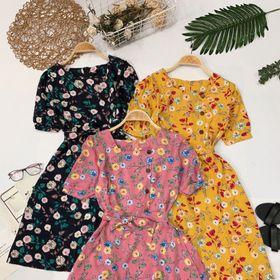 Đầm hoa nút gỗ giá sỉ