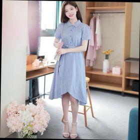 Đầm sơ mi sọc xanh xẻ tùng nữ tính giá sỉ