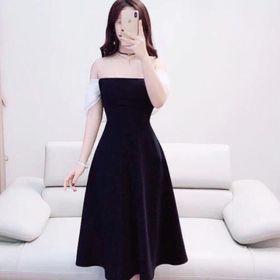Đầm xoè chất cát hàn đen bệt vai trắng giá sỉ