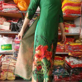 Áo dài truyền thống lụa pháp in 3D áo kèm quần giá sỉ