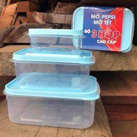 Bộ 3 hộp nhựa đựng thức ăn có nắp 16x12cm 14x10cm 95x7cm giá sỉ