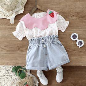 Bộ bé gái quần bó + áo sơ mi chấm bi hồng giá sỉ