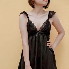 Đầm ngủ phi lụa đen 01