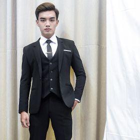 Combo bộ vest nam 1 nút và gile ôm body màu đen giá sỉ