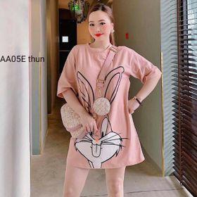 Đầm nữ mặc nhà in hình con thỏ giá sỉ