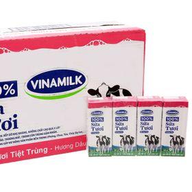Sữa tươi Đàn bò Vinamilk 100% hương Dâu 180 ml x 48 hộp giá sỉ