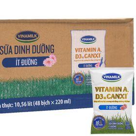 Sữa tươi Dinh dưỡng Vinamilk ít đường bịch 220 ml Thùng 48 bịch giá sỉ